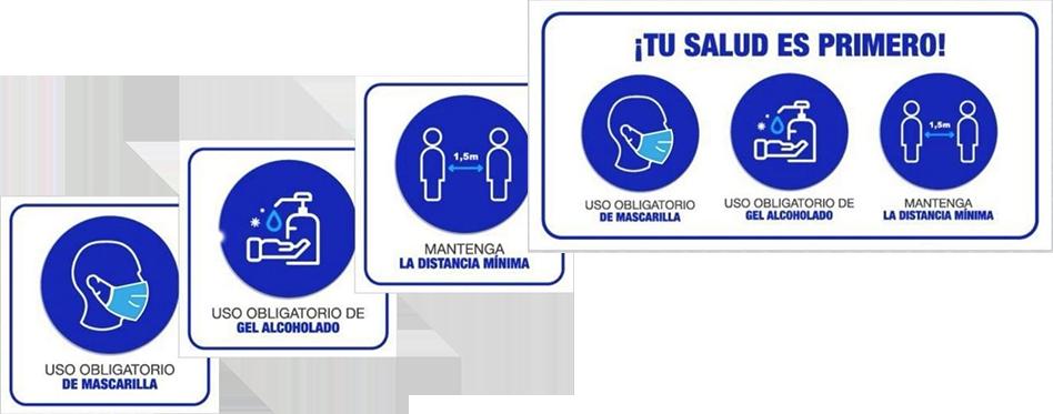 Kit de Sticker para protocolo de seguridad post covid